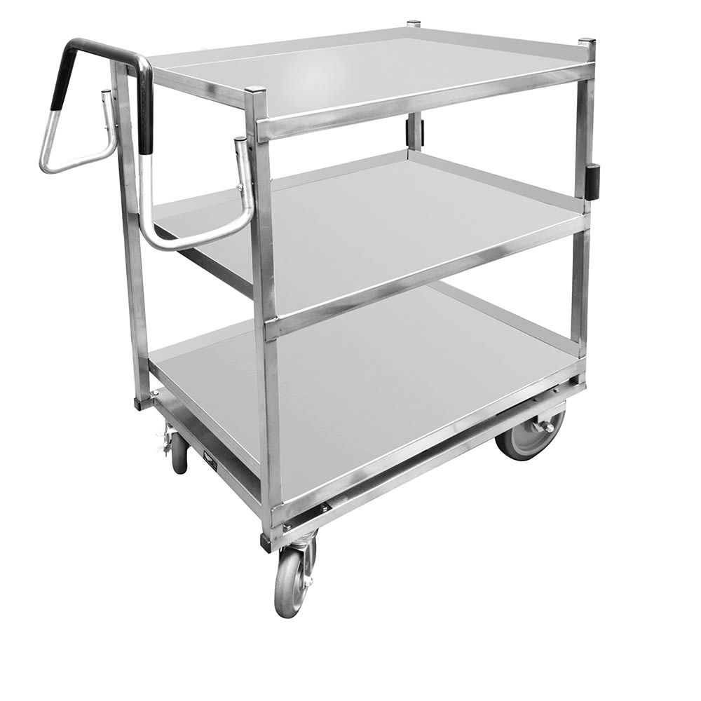 Vollrath 97206 3 Level Stainless Utility Cart w/ 650 lb Capacity, Raised Ledges