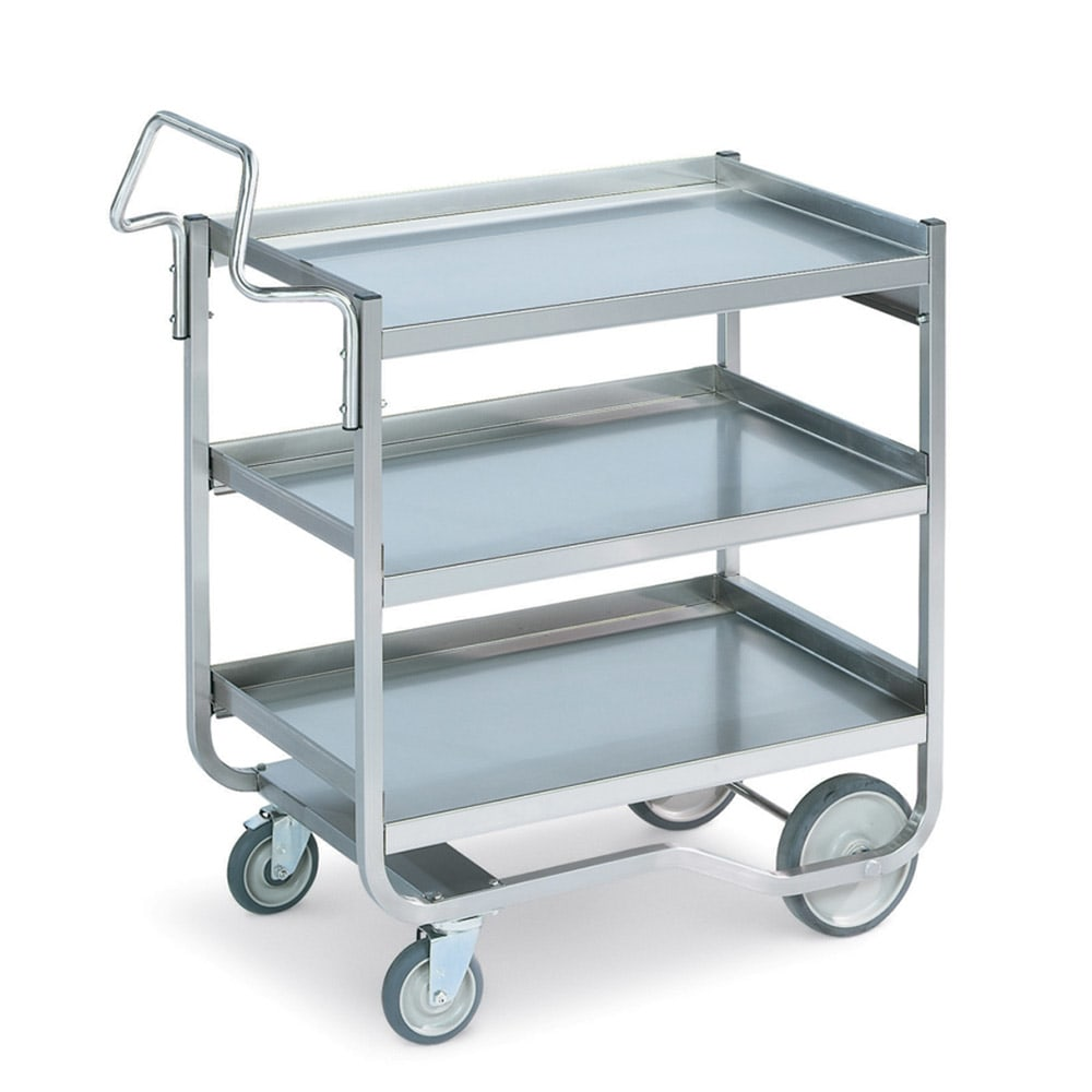 Vollrath 97211 3-Level Stainless Utility Cart w/ 650-lb Capacity, Raised Ledges