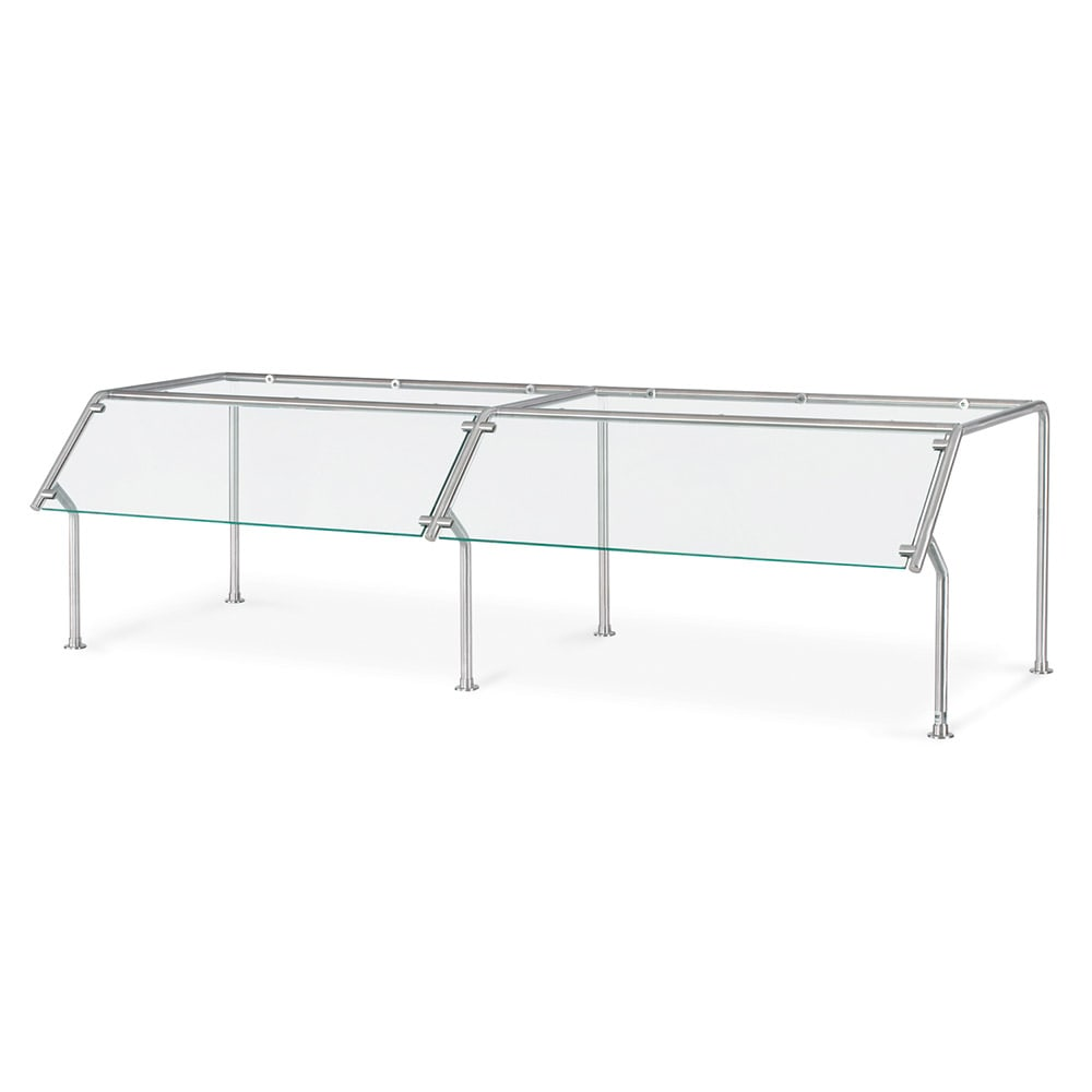 Vollrath 98652 Breath Guard with Top Shelf for 4-Well Single Sided Buffet - Glass/Stainless