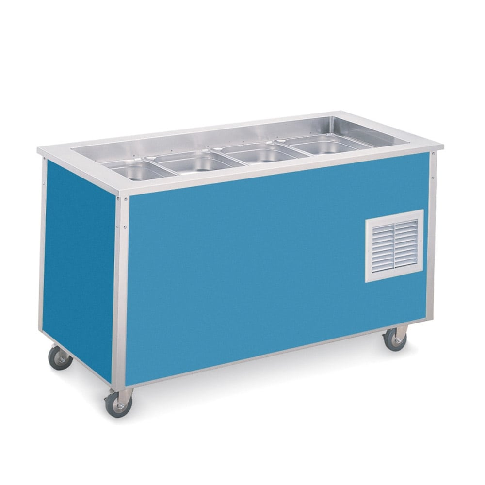 Vollrath 98710 6-Cold Pan Refrigerated Bloomington Food Station - Solid, 1/4-hp, Stainless 120v