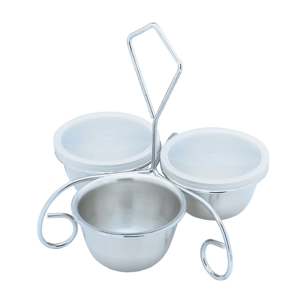 Vollrath 99615 3-Way Utility Server with Rack - (3)6-oz Stainless Bowls with Covers, Stainless