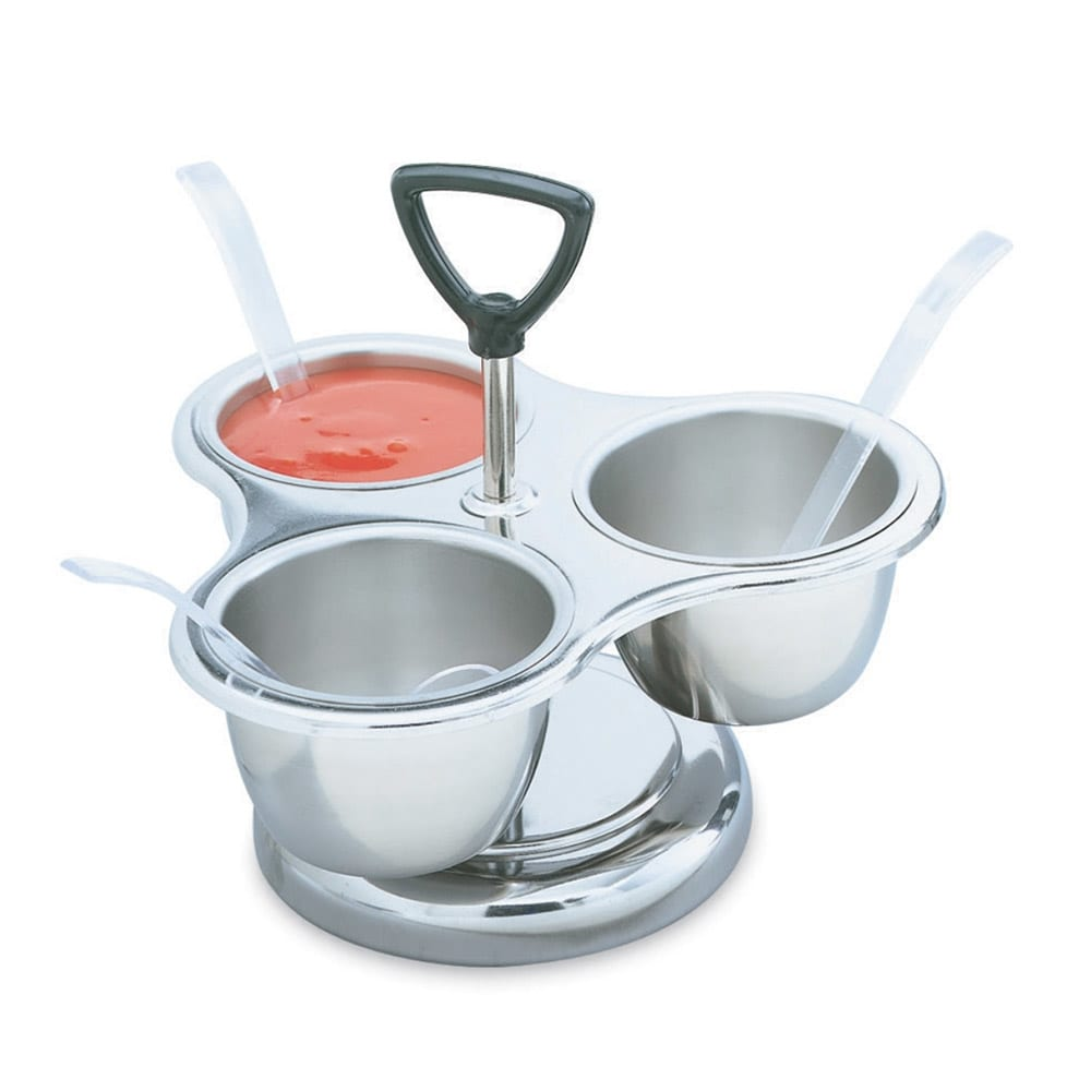 Vollrath 99637 3-Way Revolving Server with Rack - (3)10-oz Stainless Bowls, Stainless
