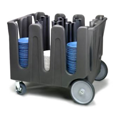 Vollrath ADC-2 Dish Caddy with Cover - 2 Posts, 4 Stacks, Adjustable, Gray