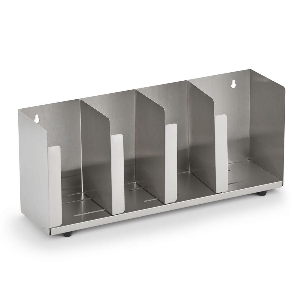"Vollrath CTL4 4-Section Lid Organizer w/ Straw Holder - 16.5"" x 8"", Stainless"
