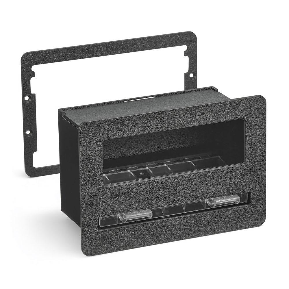 "Vollrath FMS-7 Flush-Mount Straw Dispenser - 10.56"" x 5"" x 7.38"", Plastic, Black"
