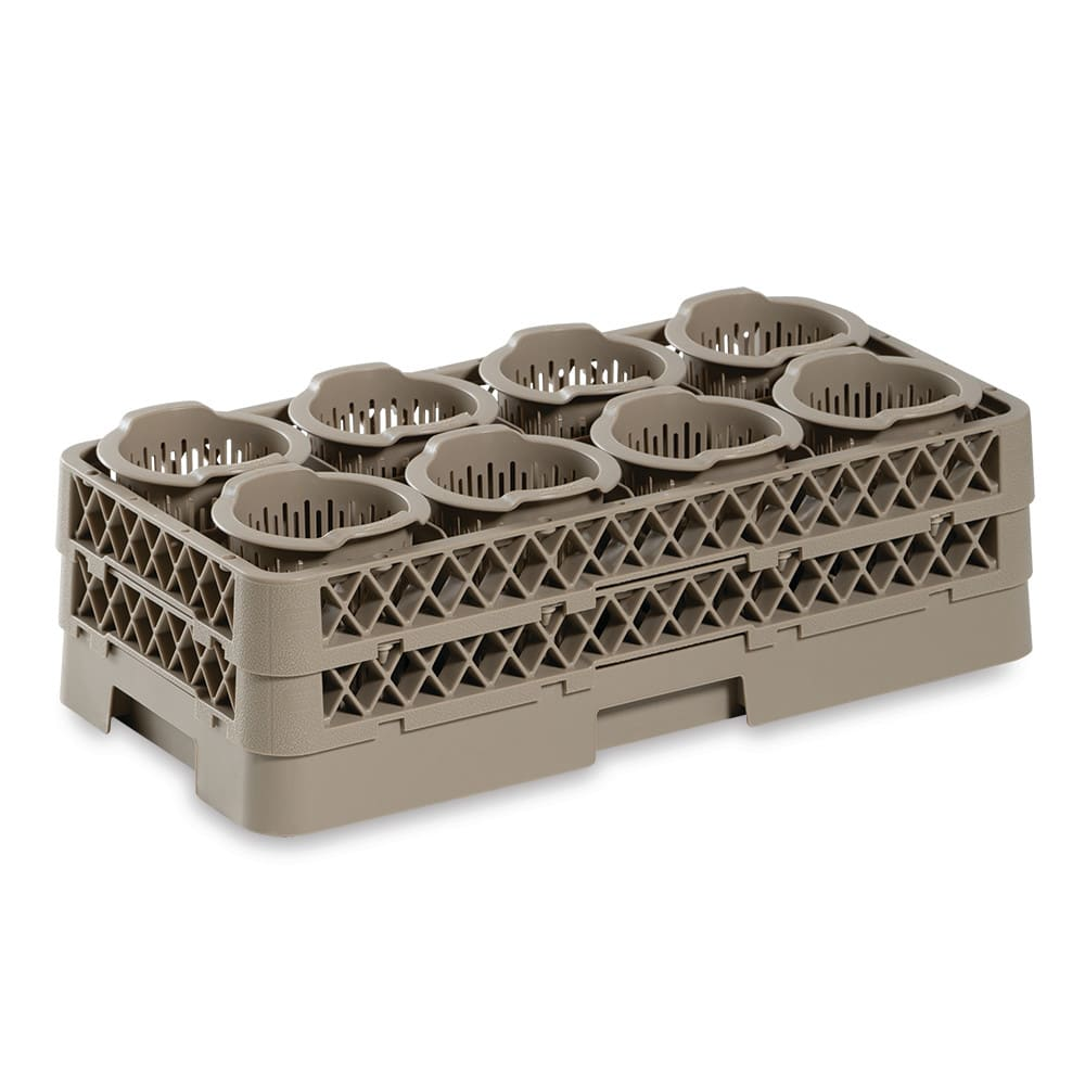 Vollrath HR1370 Flatware Dishwasher Rack - Half-Size, (8)Cylinders, Plastic, Beige