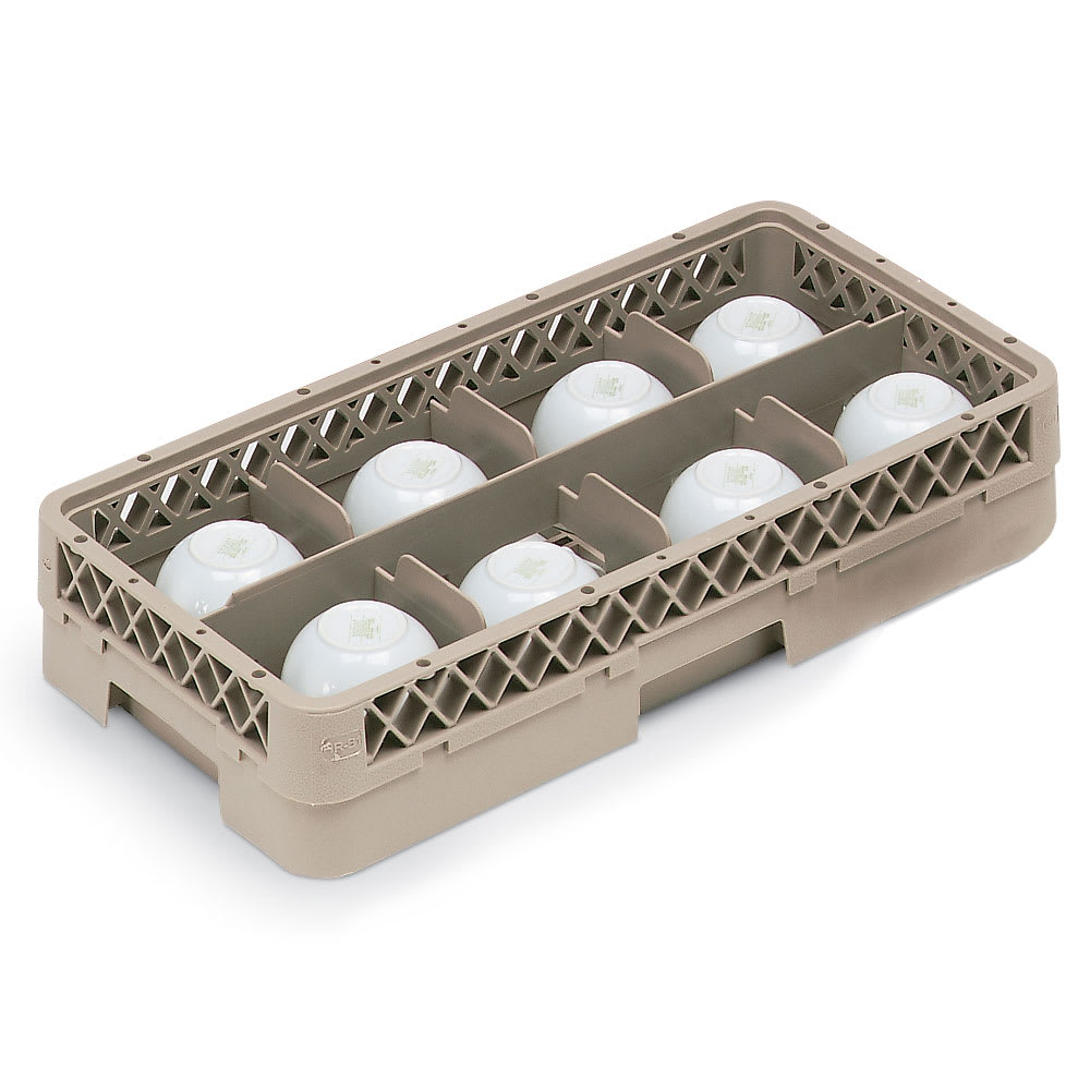 Vollrath HR1B1A Dishwasher Rack - Half-Size, 8 Compartment, (1) Open Extender, Plastic, Beige