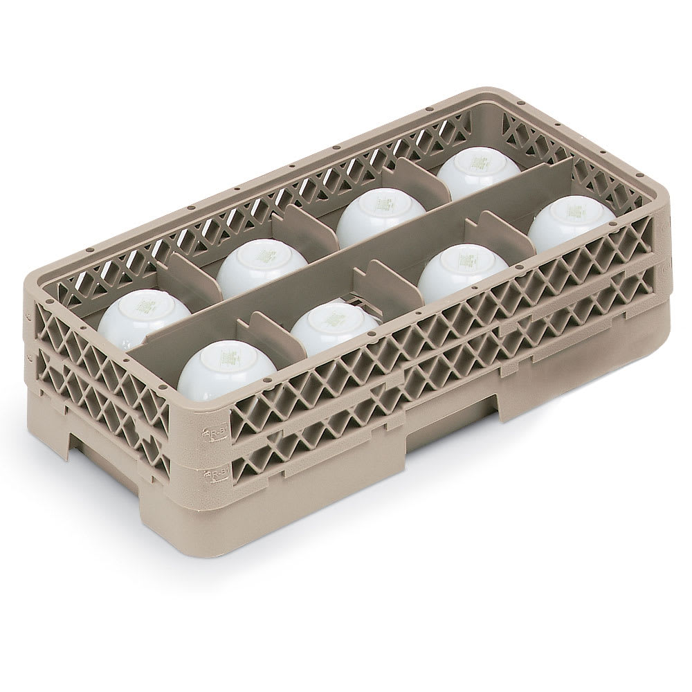 Vollrath HR1B1BA Dishwasher Rack - Half-Size, 8 Compartment, (1)Open, (2)Compartment Extender, Beige