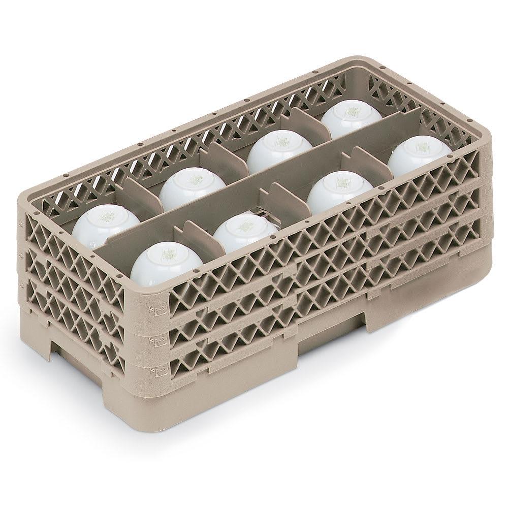 Vollrath HR1B1BB Dishwasher Rack - Half-Size, 8 Compartment, (3)Compartment Extenders, Beige