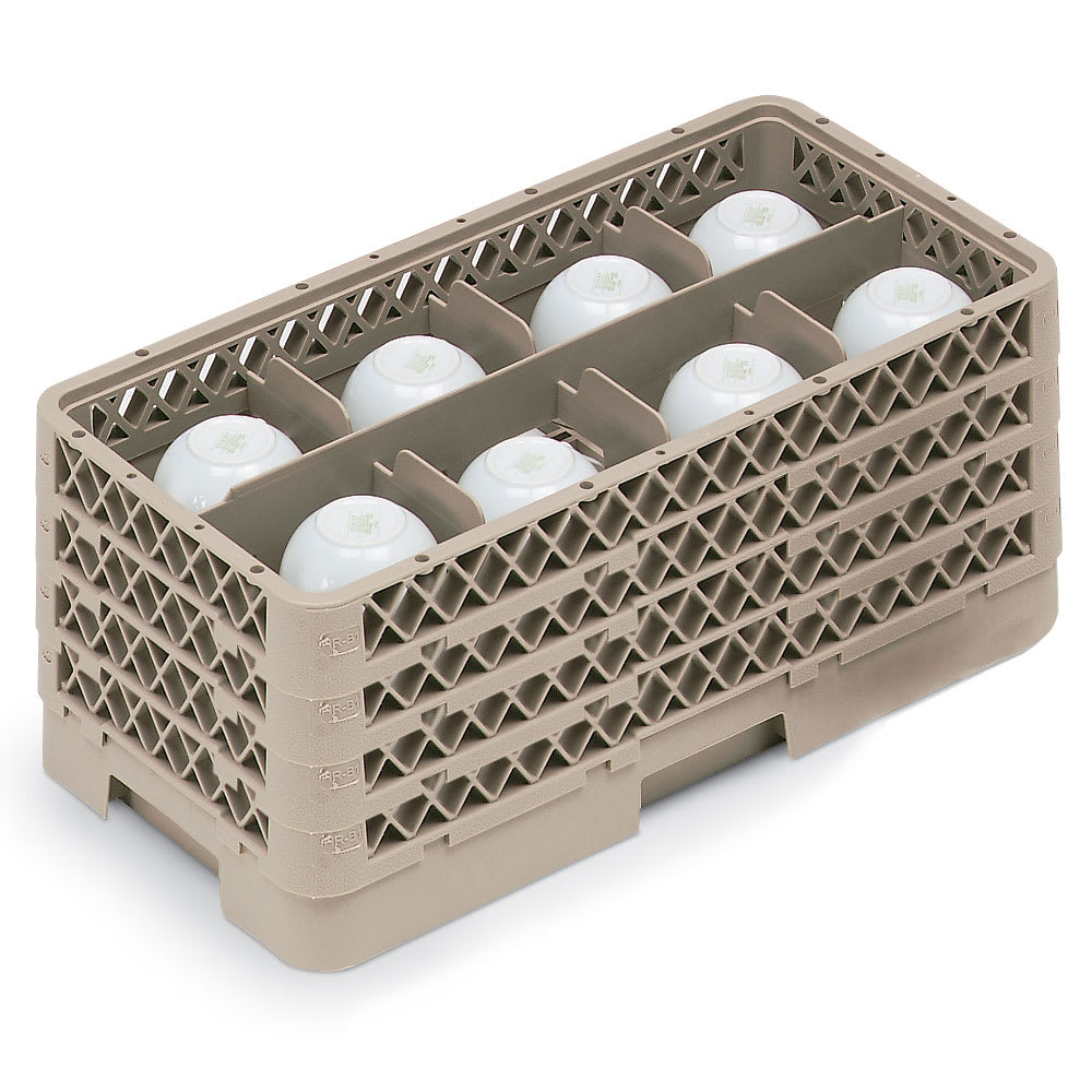 Vollrath HR-1B1BBB Dishwasher Rack - Half-Size, 8-Compartment, (4)Compartment Extenders, Beige