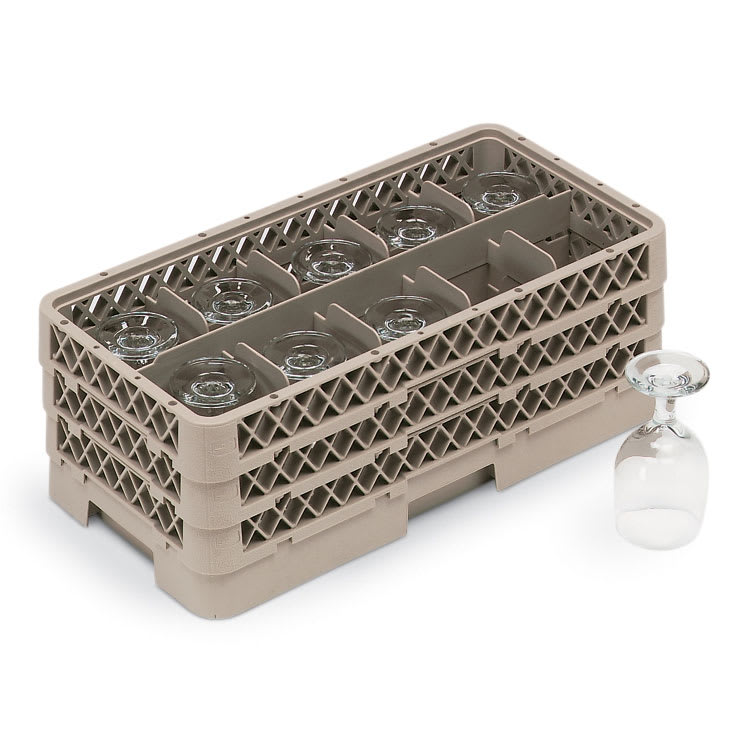 Vollrath HR1C1CA Dishwasher Rack - Half-Size, 10 Compartment, (1)Open, (2)Compartment Extender, Beige