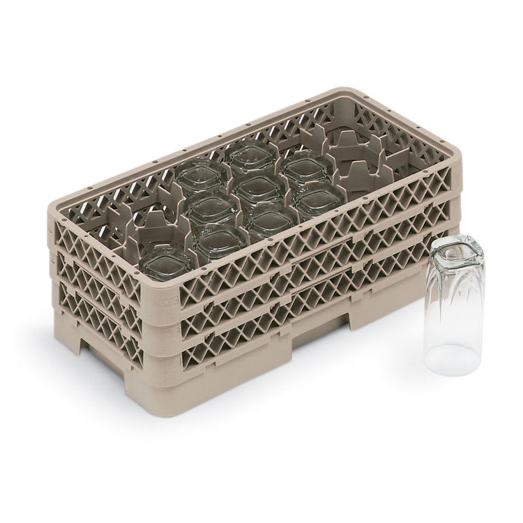 Vollrath HR1D1D Dishwasher Rack - Half-Size, 17 Compartment, (2)Compartment Extender, Beige