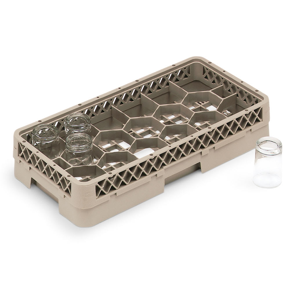 Vollrath HR-1F Dishwasher Rack - Half-Size, 17-Hexagon Compartment, (1)Compartment Extender, Beige