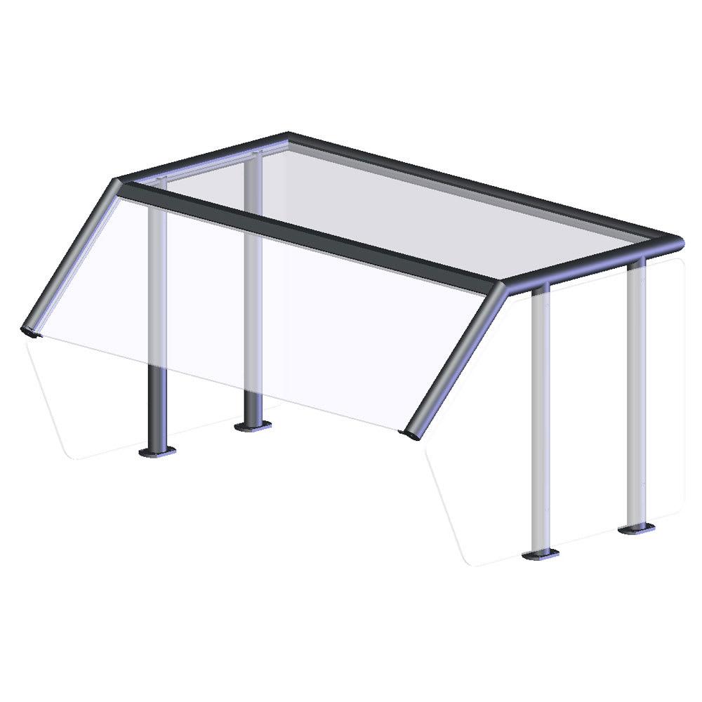 Vollrath NPB89282 Breath Guard - Top Shelf, Single-Sided 4-Well Buffet, Acrylic Panels, Glass/Aluminum