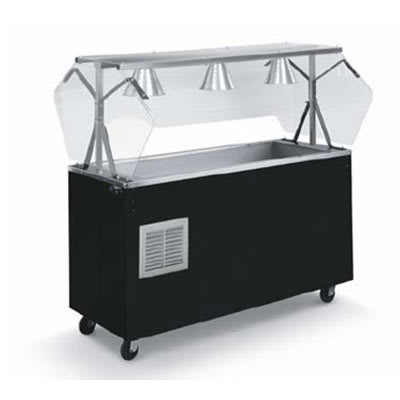 """Vollrath R38713 3-Well Cold Station - Buffet Breath Guard, Solid Base, 6"""" Deep, Black 120v"""
