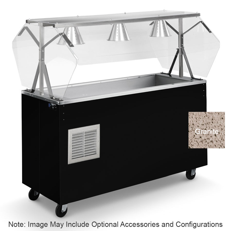 Vollrath R3873546 3 Well Cold Station with Lights - Enclosed Breath Guard, Storage Base, Granite 120v