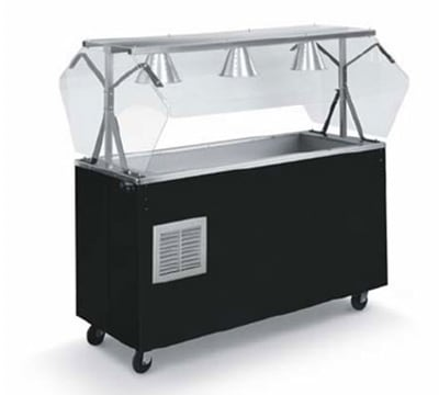 Vollrath R38774 3-Well Cold Station - Enclosed Buffet Breath Guard, Open Base, Cherry 120v