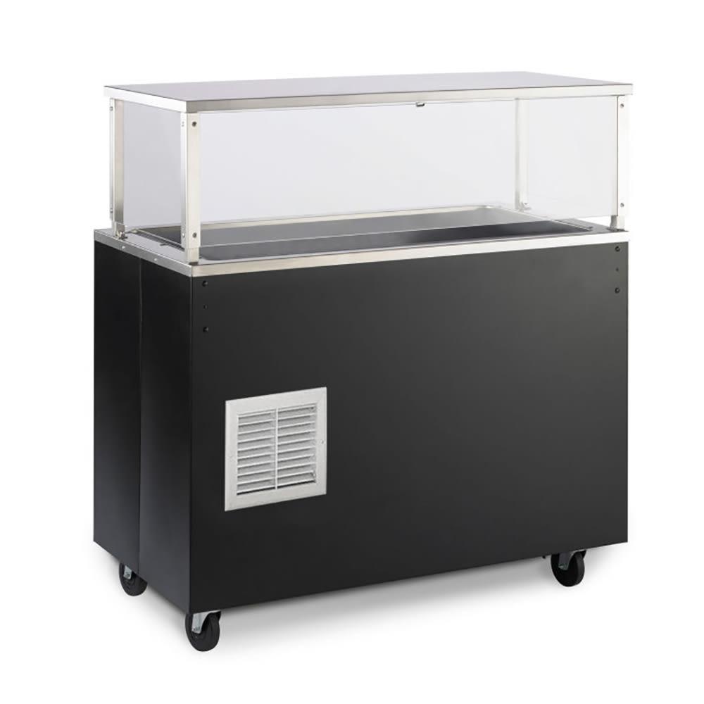 Vollrath R39716 4-Pan Cold Cafeteria Unit - Breath Guard, Solid Base, Black 120v
