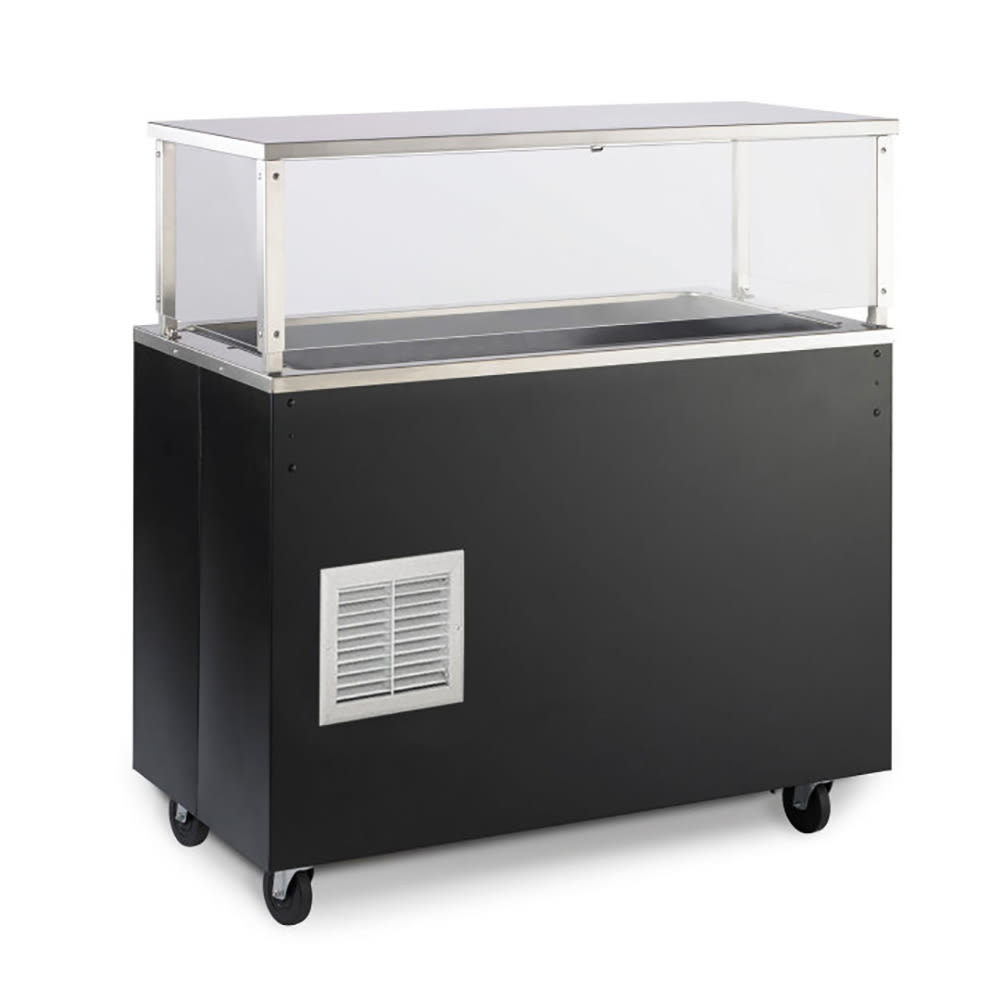 Vollrath R39959 4-Pan Cold Cafeteria Unit - Breath Guard, Solid Base, Walnut 120v