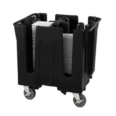 """Vollrath SAC-4C-06 Small Dish Caddy with Cover - Adjustable, 4 Post, 4 Stacks, Fits 9 5/8 10 1/4"""" Black"""