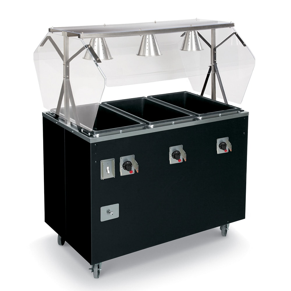 Vollrath T387282 3 Well Hot Food Station - Open Base, Thermostat, Manifold Drain, Granite 208/240v