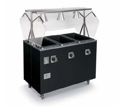 Vollrath T38946 4-Well Hot Food Station - Open Base, Thermostat, Manifold Drain, Walnut120v