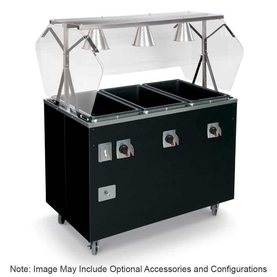 Vollrath T39711 4-Well Hot Cafeteria Unit - Open Base, Thermostat, Manifold Drain, Black 120v