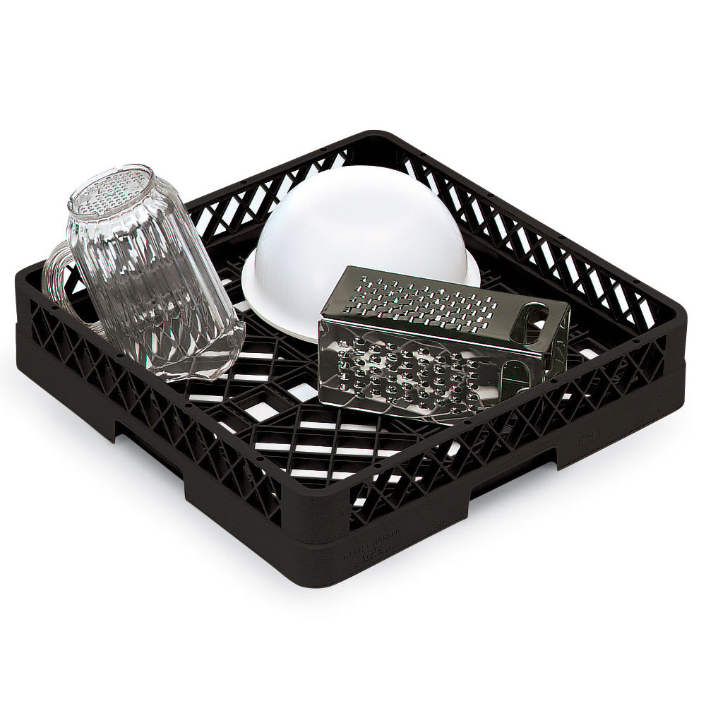 Vollrath TR1 Full-Size Dishwasher Rack - Open Bottom and Sidewall, Black
