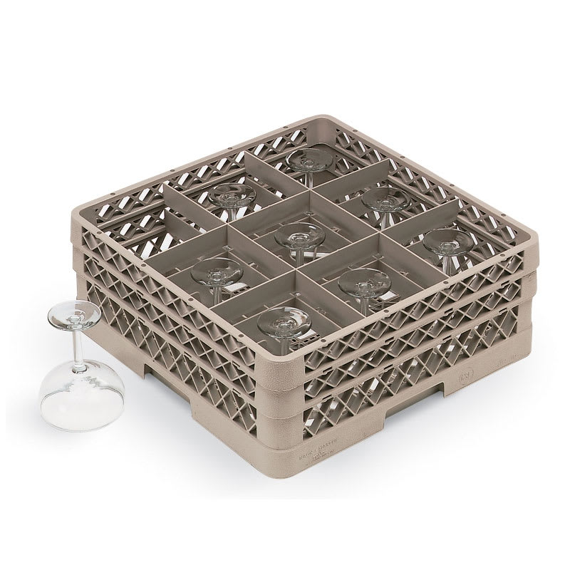 Vollrath TR10FFA Full-Size Dishwasher Glassware Rack, 9 Compartment, 3 Extenders, Beige