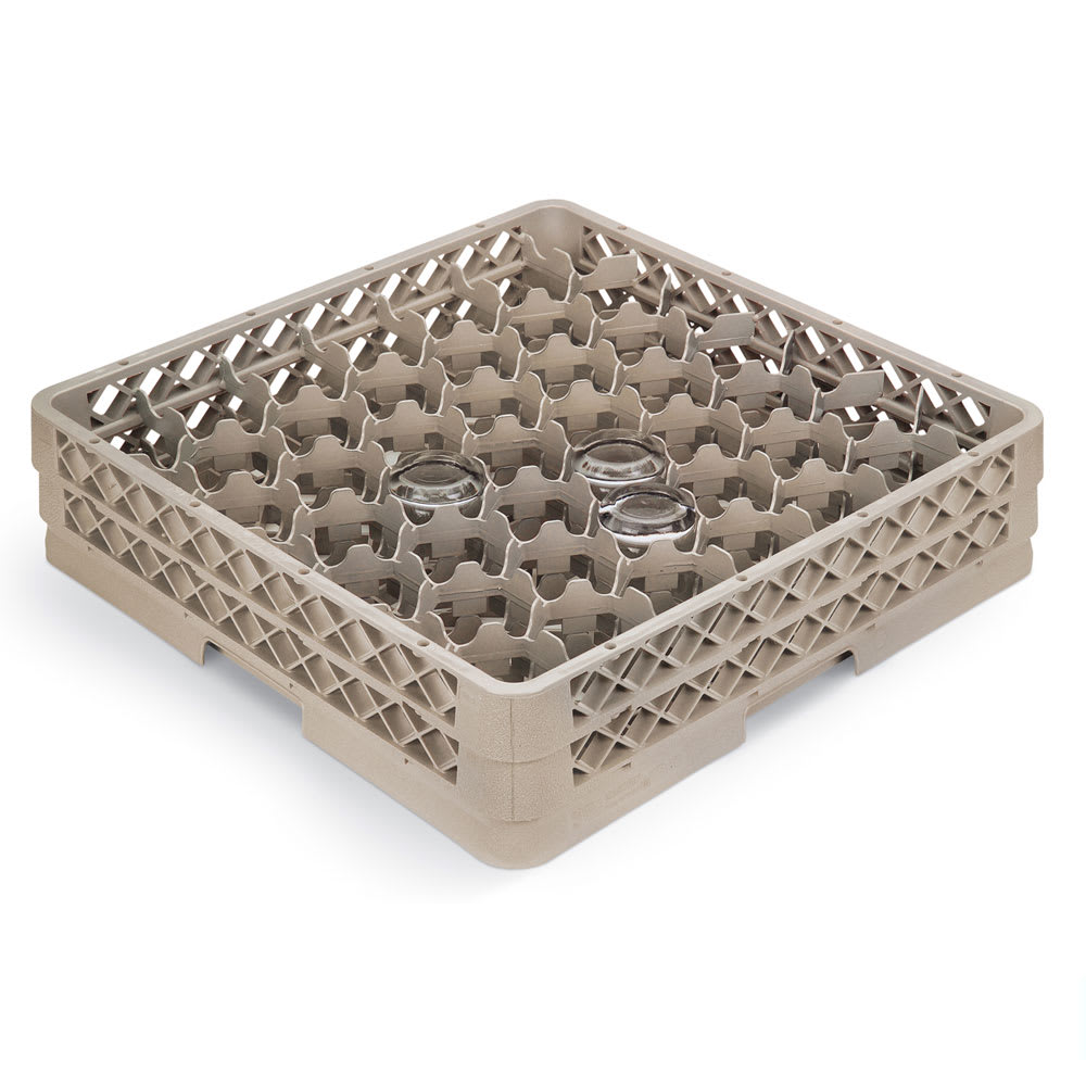 Vollrath TR13MMMMM Full-Size Glassware Rack - Low-Profile 42-Compartment, 5-Extenders, Beige