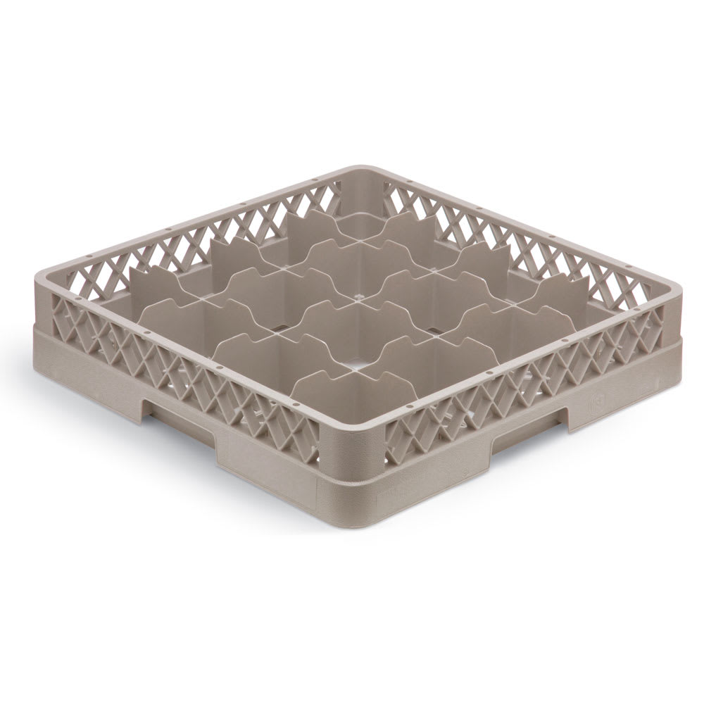 Vollrath TR4DDDA Full-Size Dishwasher Cup Rack - 16 Compartment, 4 Extenders (1 Open), Beige