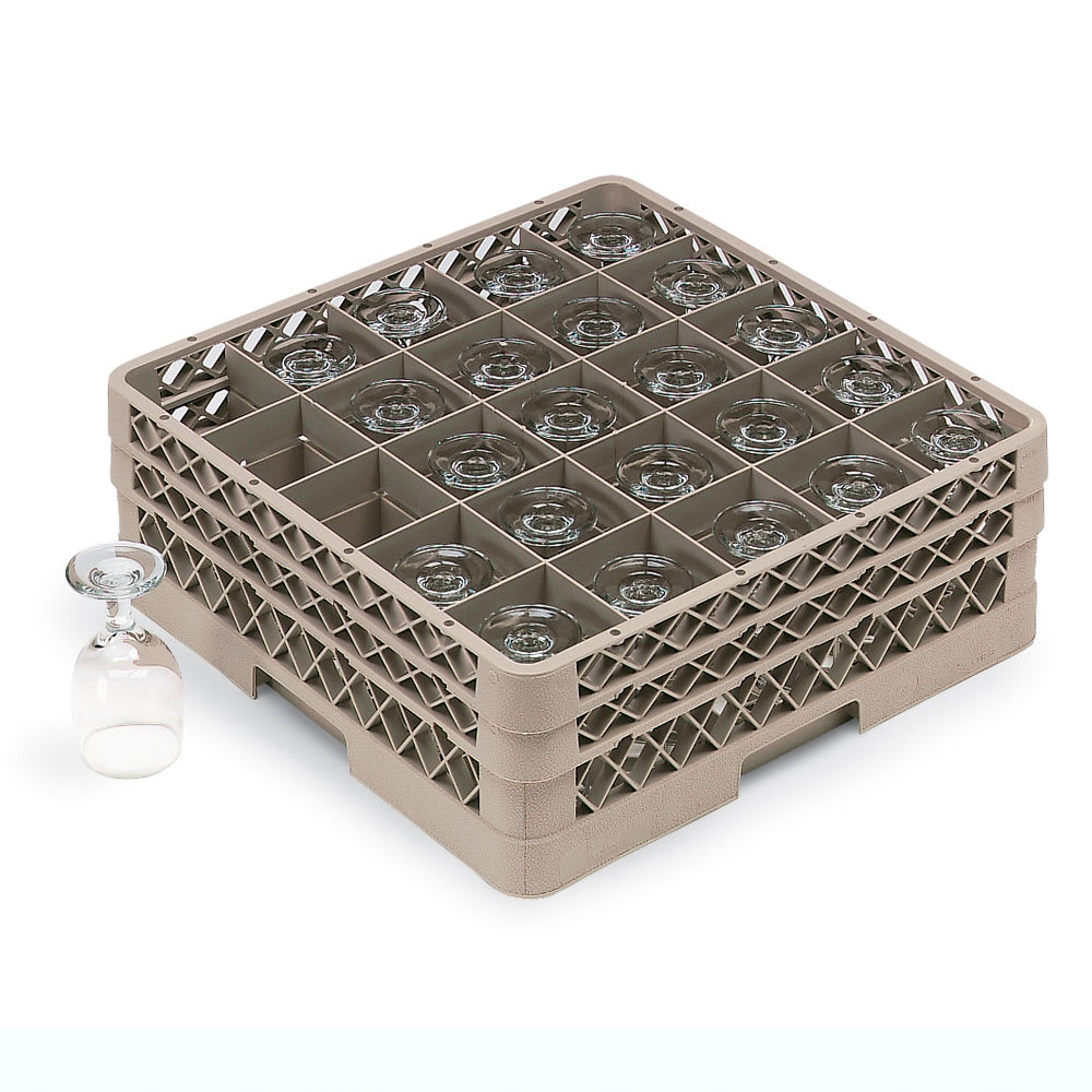 Vollrath TR6BBBBB Full-Size Dishwasher Glassware Rack - 25-Compartment, 5-Extenders, Beige