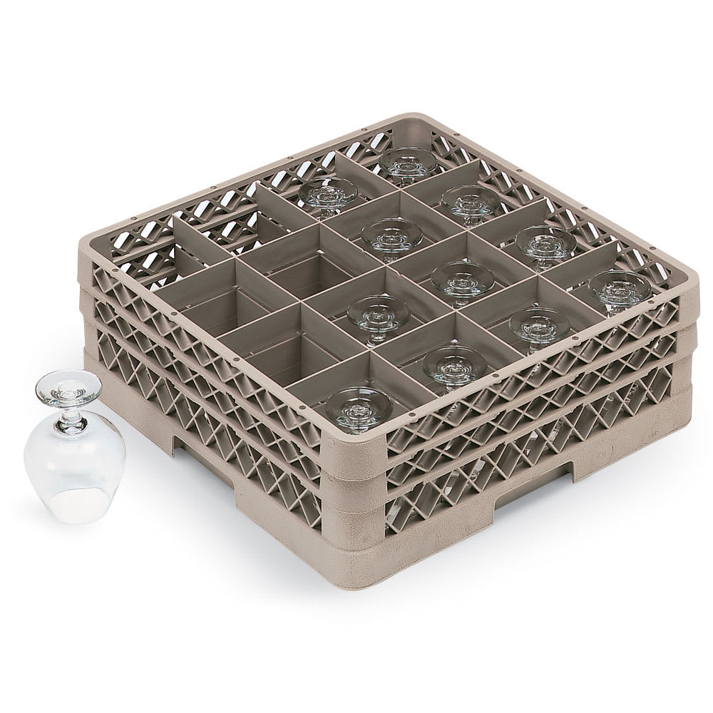 Vollrath TR8DDDDDD Full-Size Glassware Rack - 16-Compartment, 6-Extenders, Beige
