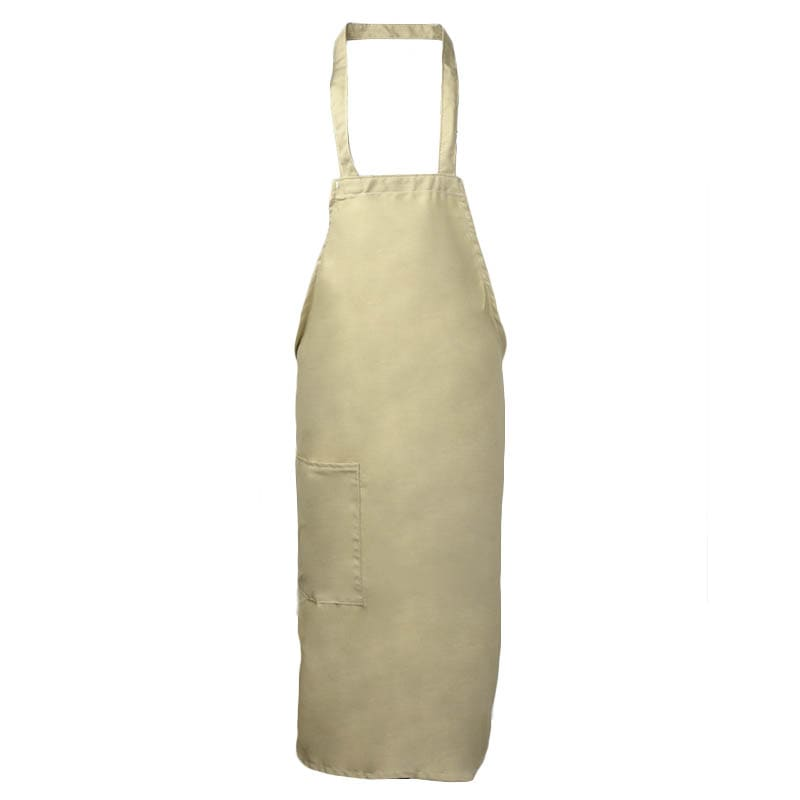 "Intedge 335-1 BE Deluxe Bib Apron & Tie w/ Hip Pocket, 32 x 28"" Beige"