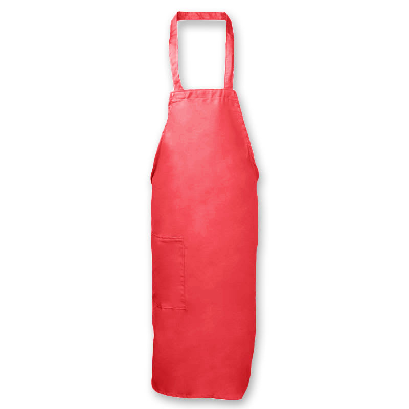 "Intedge 335-1 R Deluxe Bib Apron & Tie w/ Hip Pocket, 32 x 28"" Red"