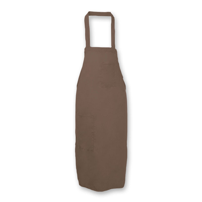 "Intedge 335 B Bib Apron w/ Matching Tie, 32 x 28"", Hip Pen Pocket, Brown"
