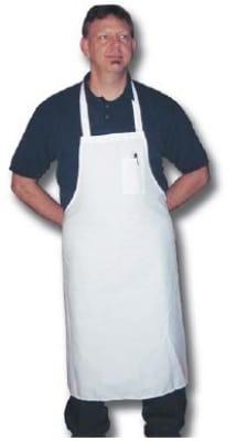 """Intedge 340WS Oversized Bib Apron w/Poly Cotton Blend, 35.5 x 35.5"""", White"""