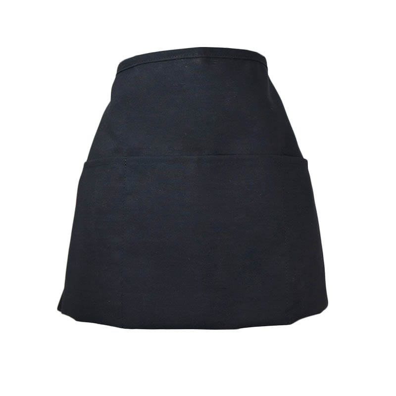 Intedge 342BK Apron Half Waist Black, 3 Pockets, Polyester