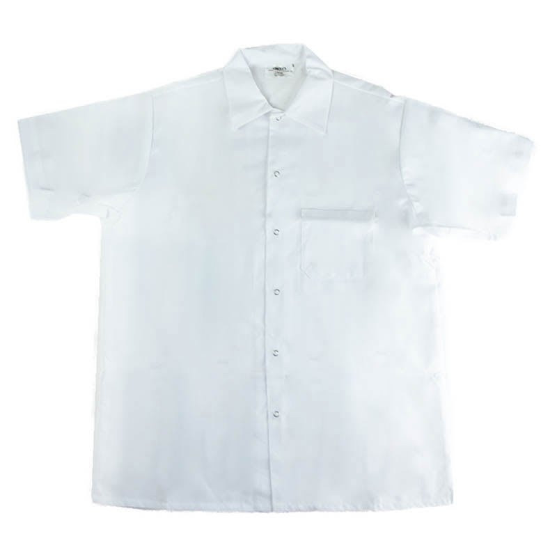 Intedge 344SHS Kitchen Shirt, Short Sleeves w/ Snaps, White, Small
