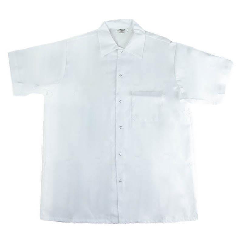 Intedge 344SHXL Kitchen Shirt, Short Sleeves w/ Snaps, White, X-Large