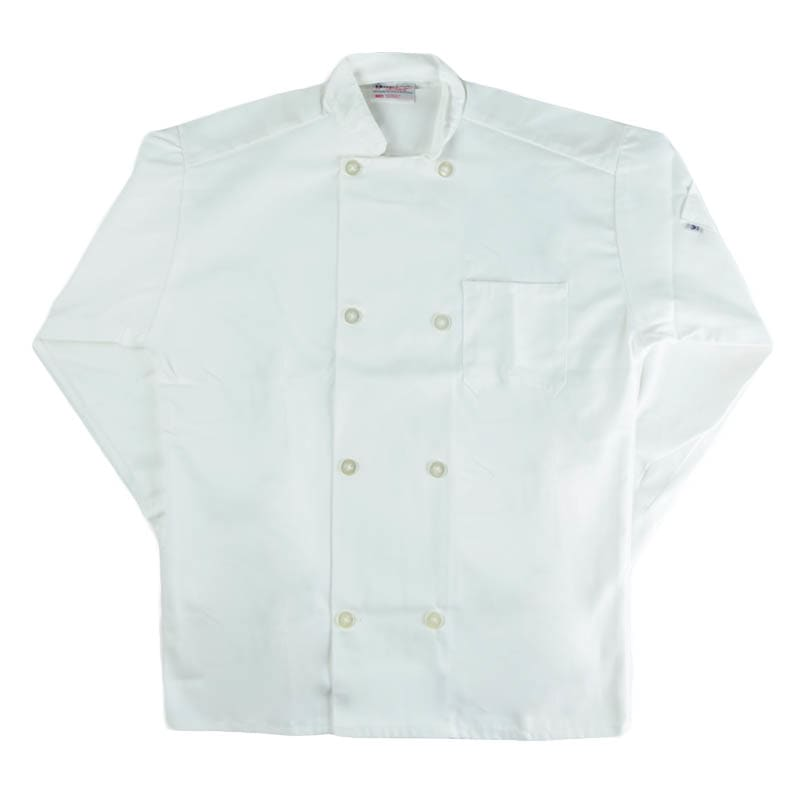 Intedge 345BM Chef Coat, Double Breasted w/ One Pocket, White, Medium