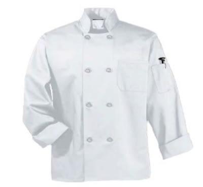 Intedge 345B M LB Chef Coat w/ Button Closure, Poly Cotton, Medium, Light Blue