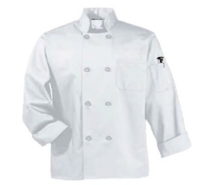Intedge 345B SM I Chef Coat w/ Button Closure, Poly Cotton, Small, Ivory
