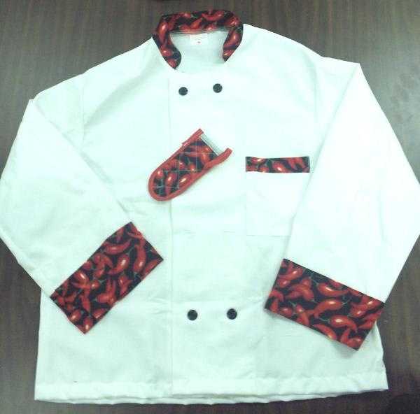 Intedge 345HPM Chef Coat, Double Breasted, White w/ Hot Pepper Trim, Medium