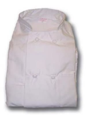 Intedge 345KB SM I Double Breasted Chef Coat w/ Knotted Button, Small, Ivory
