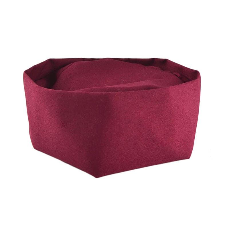 Intedge 346PB BU Pill Box Hat Skull Cap w/ Flat Top, One Size, Burgundy