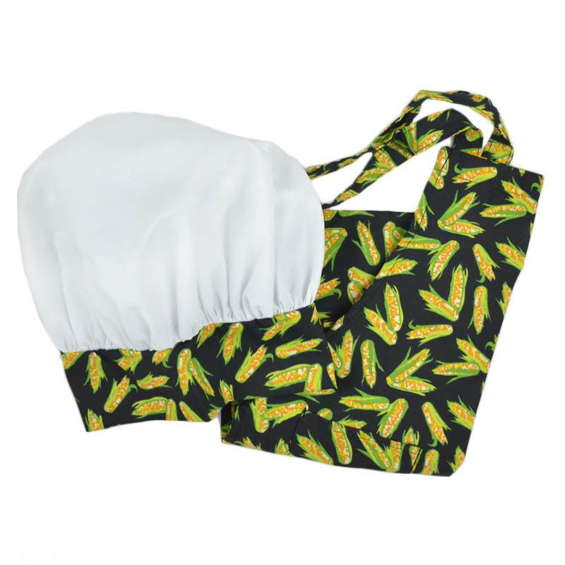 Intedge AHS-K10 CORN Kid Apron Hat Set w/ 1 Hip Pocket, Corn Band