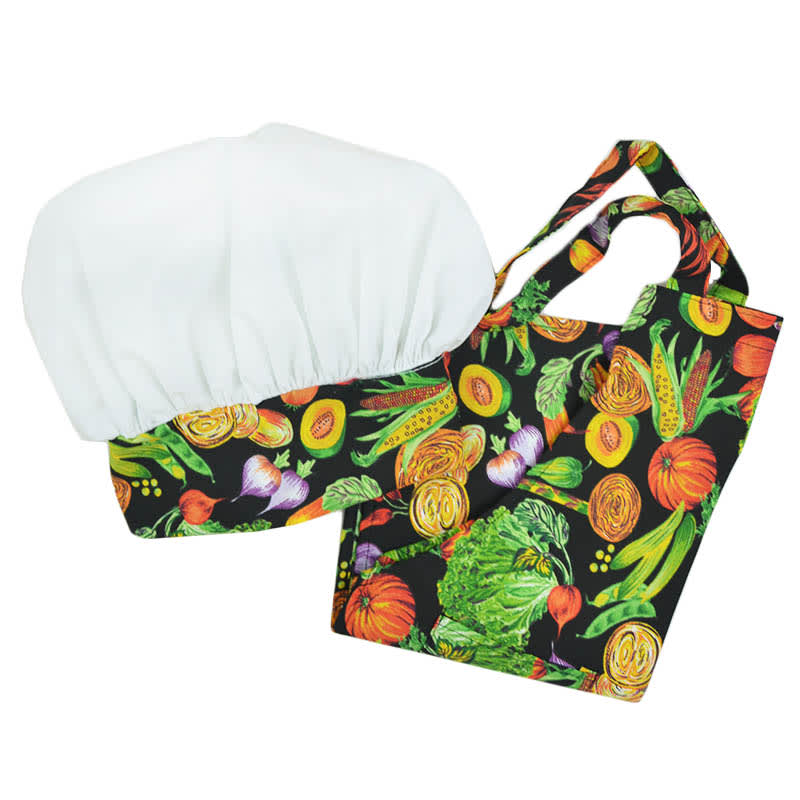 Intedge AHS-K11 VEG Kid Apron Hat Set w/ 1-Hip Pocket, Veggie Band