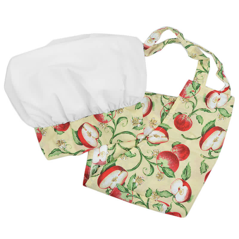 Intedge AHS-K13 A Kid Apron Hat Set w/ 1 Hip Pocket, Apple Band