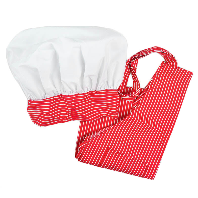 Intedge AHS-K7 RS Kid Apron Hat Set w/ 1-Hip Pocket, Red Stripe Band